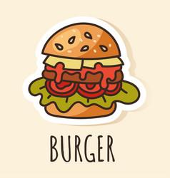 burger fast food sticker design element vector image
