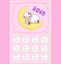 calendar 2018 with lamb vector image