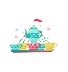 carousel with large tea kettle and cups amusement vector image
