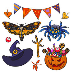 Cartoon halloween set vector