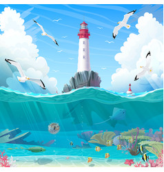 Cartoon lighthouse sea clipart vector