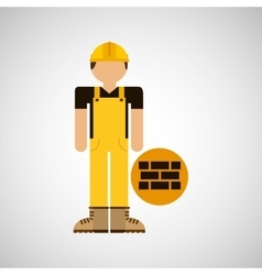 character construction man with bricks vector image