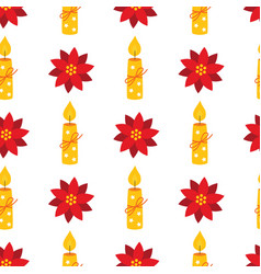 christmas holiday seamless pattern with candles vector image