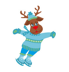 Christmas reindeer with scarf skates on ice - vector