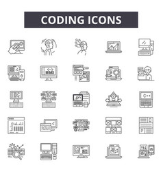 coding line icons signs set outline vector image