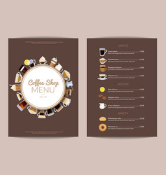 Coffee shop vertical menu template vector