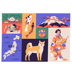 Collage japanese national culture art vector