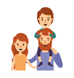 colorful caricature half body family with wavy vector image