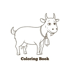 Coloring book goat cartoon educational vector