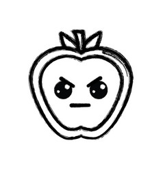 contour kawaii nice angry apple fruit vector image vector image