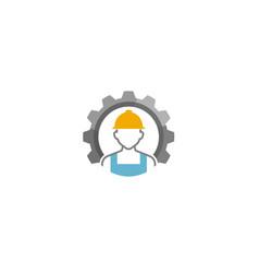 creative engineer worker gear logo design vector image