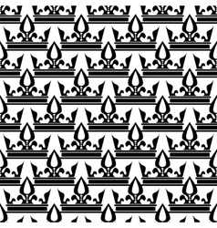 Crowns seamless pattern in black and white vector