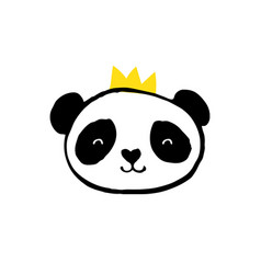 Cute panda bear black and white vector