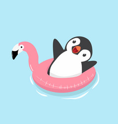 cute penguin with flamingo float vector image