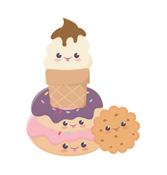 Cute sweet donut cookie ice cream kawaii cartoon vector