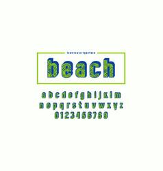 Decorative sans serif bulk font with palm leaf vector
