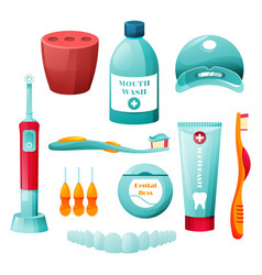 Dental hygiene oral health or tooth cleaning care vector
