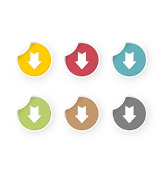 download icons colored stickers set vector image
