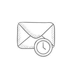 Envelope mail with clock sketch icon vector image