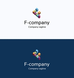 F letter buildings 3d logo vector