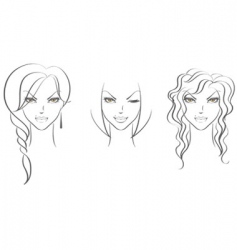 faces women's vector image