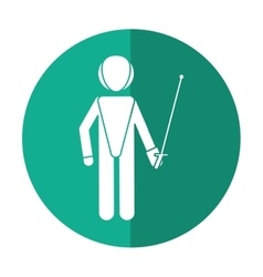 Fencing player sport athlete shadow vector