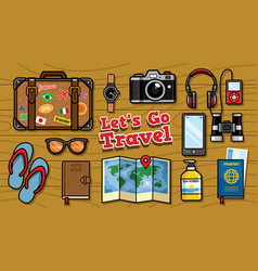 flat lay traveling objects set vector image