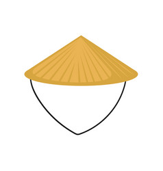 Flat of classic asian conical hat made of vector