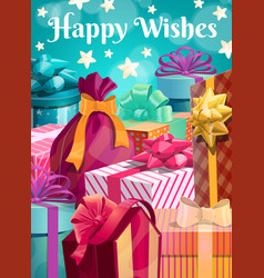 Gifts and birthday happy wishes greeting card vector