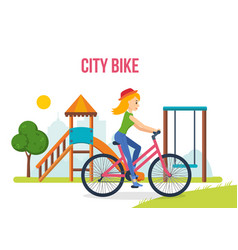Girl in summer clothes riding bike on playground vector