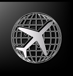 globe and plane travel sign gray 3d vector image