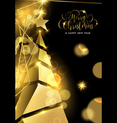 Gold christmas pine tree luxury greeting card vector