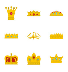 Gold crown icon set flat style vector