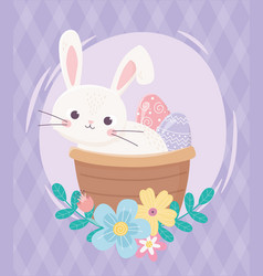 happy easter day basket with rabbit eggs flowers vector image