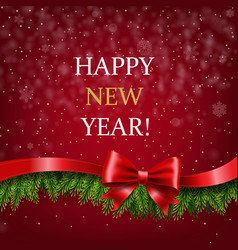 happy new year banner with ribbon and fir tree vector image