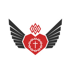 Heart christ and wings spirit vector