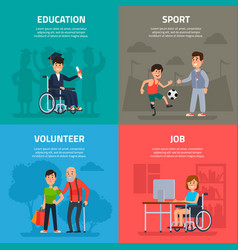 help disabled persons volunteer work sports and vector image