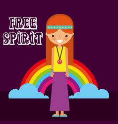 Hippie woman rainbow retro free spirit vector