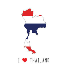 i love thailand text and thailand flag on map vector image