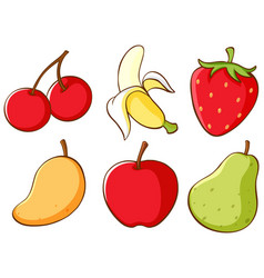 Isolated set fruits vector