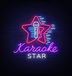Karaoke star neon sign luminous logo vector