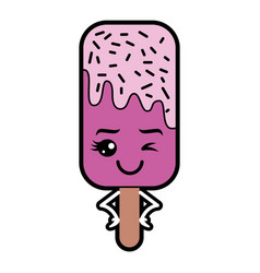 Kawaii ice cream stick cartoon character vector