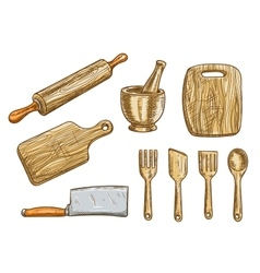 Kitchen tools kitchenware appliances vector
