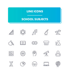 line icons set school subjects vector image