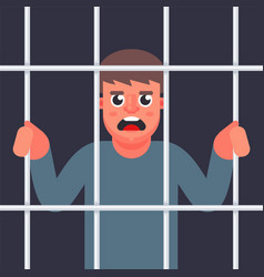 Male criminal behind bars vector