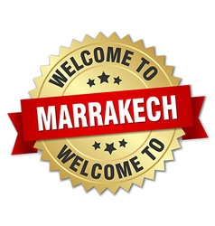 Marrakech 3d gold badge with red ribbon vector