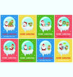 Merry christmas and happy new year greeting cards vector