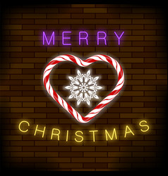 merry christmas colorful neon sign with candy vector image