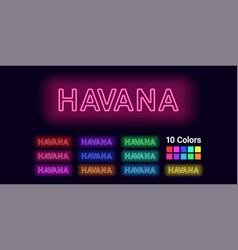 Neon name of havana city vector