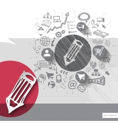 Paper and hand drawn pencil emblem with icons vector